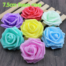 10PCS/lot 7.5cm Multicolor Artificial Crimping Foam rose head Use For Wedding Decoration DIY Wreaths Craft Gift Supplies