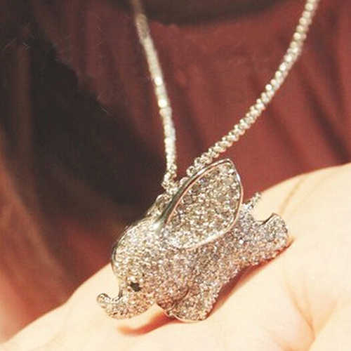 Cute Rhinestone Baby Elephant Pendant Charm Sweater Long Necklace Jewelry Gift