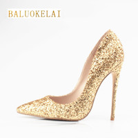 Shoes Woman 12CM High Heels Gold Shoes Women Pumps Pointed Toe Ladies Wedding Shoes Thin Heels