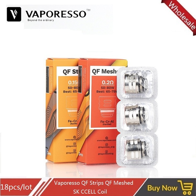 18pcs/lot Vaporesso SKRR E-cigarette Atomizer Core Vape Coil for Luxe Kit SKRR Tank QF Strip QF Meshed 0.2ohm SK CCELL 0.5ohm