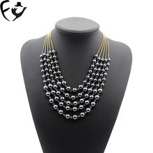 FY New European and American antique dark gray imitation pearl multi-layer necklace(China)