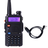 Baofeng UV 5R Black Dual Band Walkie Talkie With Free Programming Cable CB Radio Transceiver 5R