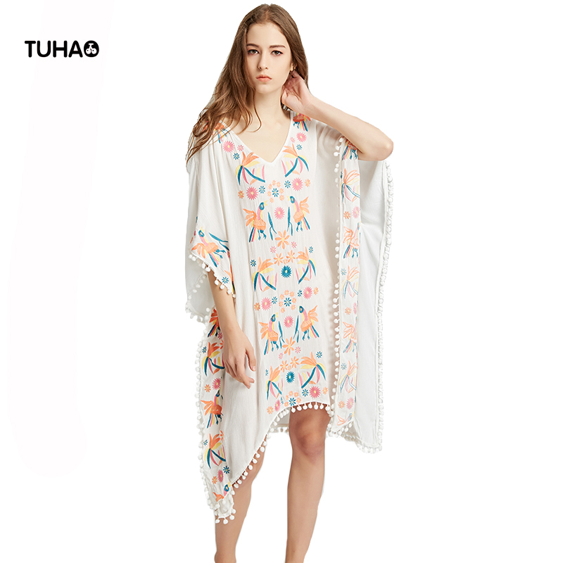 TUHAO V-neck Floral Birds Embroidery Smock Frock Dress Women Sleeveless Tassel Ball Summer Bohemian Beach Dresses TR5703