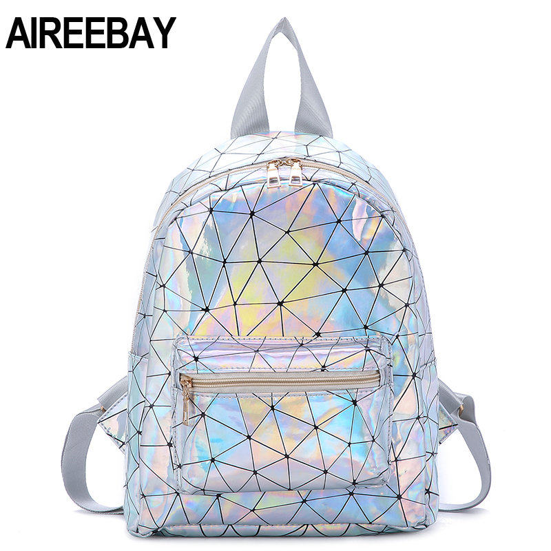 AIREEBAY Preppy Style New Hologram Laser Backpack Women Soft PU Leather Backpack School Bags For Girls Small Shoulder Bags
