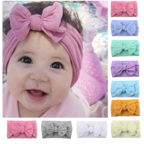 Newest Toddler Baby Girls Head Wrap Top Knot Big Bow Turban Headband Hair Accessories