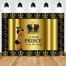 NeoBack Royal Litter Prince Baby Shower Photography Backdrops Black Gold Gender Reveal Party Decoration Background
