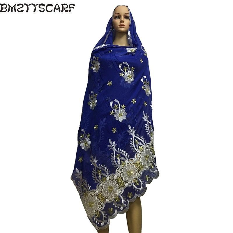 2019 Latest African Women   Scarf   muslim embroidery   scarf   big   scarf   for shawls   wraps   100% cotton   scarf
