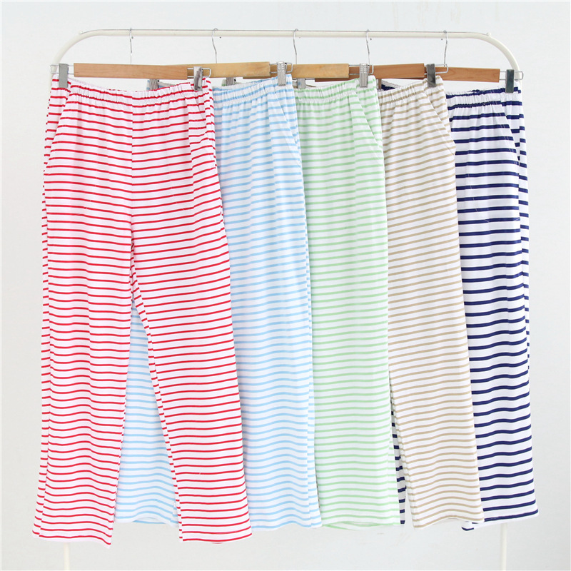 Candy Color Stripes  Knit Cotton Sleep Bottoms Women Casual Ladies Home Pajamas Trousers Sleep Pants Women Sheer Pants