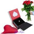 2016 New Red Love Heart Flocked Ring Earring Box Velvet Inside With Sponge Jewellery Trinket Display & Carrying Case Organizer