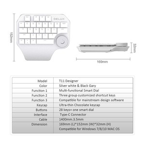 Image 5 - Delux T11 Designer Keyboard with Smart Dial 3 Group Customizable Keys Keypad Compatibility for Wacom Windows Mac Design Software