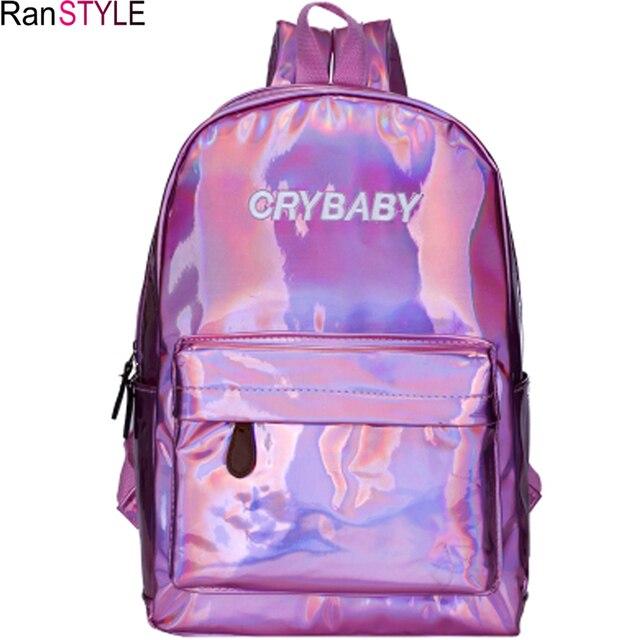 Прозрачный рюкзак модный лазер пайетки женские школьные рюкзаки высокого  качества для девочек-подростков Розовый Единорог 5f12be2b455