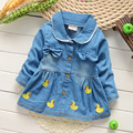 Girls Denim Jacket Children Fashion Style Outerwear Kids Jacket  Embroidery Duck Spring Autumn tur-down collar For Girls Jacket