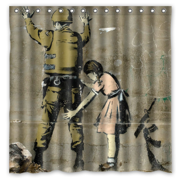 Banksy Graffiti Waterproofmildew Proof Thicken Polyester Fabric Shower Curtain Bathroombath Curtains 180180cm