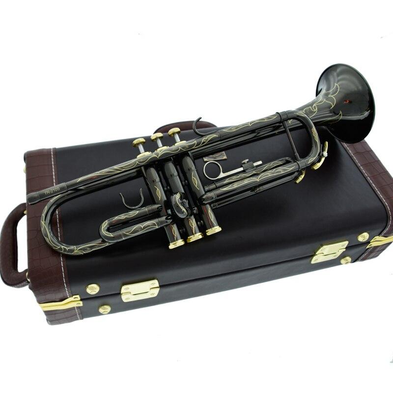 Новые продажи, профессиональные TR210S Bb трубы, черные никелевые Позолоченные желтые латунные инструменты Bb Trumpete, популярные музыкальные инст