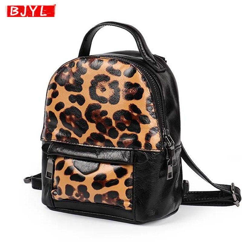 2019 mode mini en cuir véritable femmes sac à dos femme sac à bandoulière mode personnalité rétro léopard en cuir souple sacs à dos
