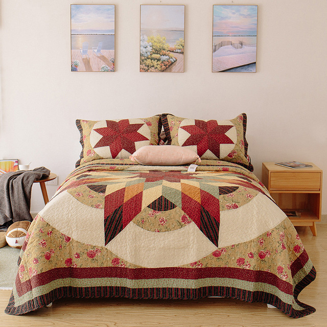 CHAUSUB Vintage Handmade Patchwork Quilt Set 3PCS Bedding Cotton Quilts  Quilted Bedspread Cover Bed Sheets King