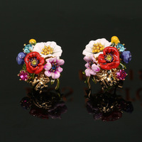 Romantic Fashion High End Enamel Glaze Flowers Plants Series A Hundred Flowers Contend In Beauty Flower