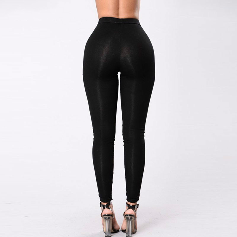 Black Hollow Out Leggings Women 2019 Autumn Winter Full Length Pencil Pants Sexy Fitness Lace Up Bodycon Legging 47