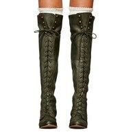 Кожаные женские сапоги до колена, зимние сапоги до бедра на квадратном каблуке со шнуровкой, армейский зеленый цвет, zapatos mujer, женские чулки