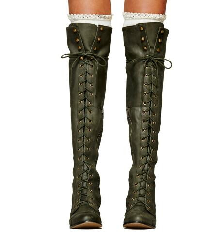 Leather Women Knee-high Boots Winter Thigh High Lace Up Square Heel Boots Army Green Zapatos Mujer Shoes Woman Stockings women ultrathin lace top sheer thigh high silk stockings fashion style new gh