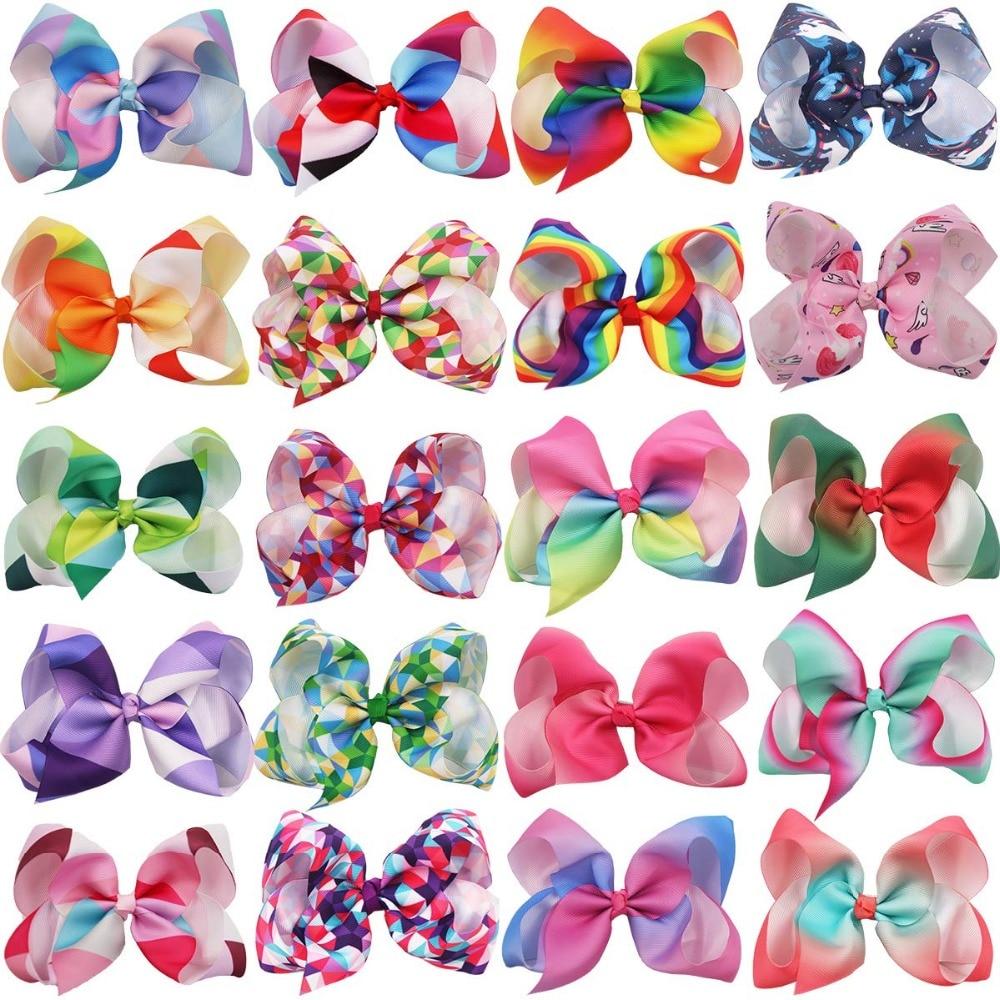 20PCS Baby Girls 6 Inch Big Hair Bows Alligator Hair Clips Grosgrain Ribbon Rainbow Bow Unicorn Hair Clips For Girls Kid