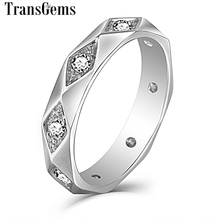 Transgems Classic Solid 14K 585 White Gold 2.5mm F Color Moissanite Engagement Ring for Men Wedding Band Lovers