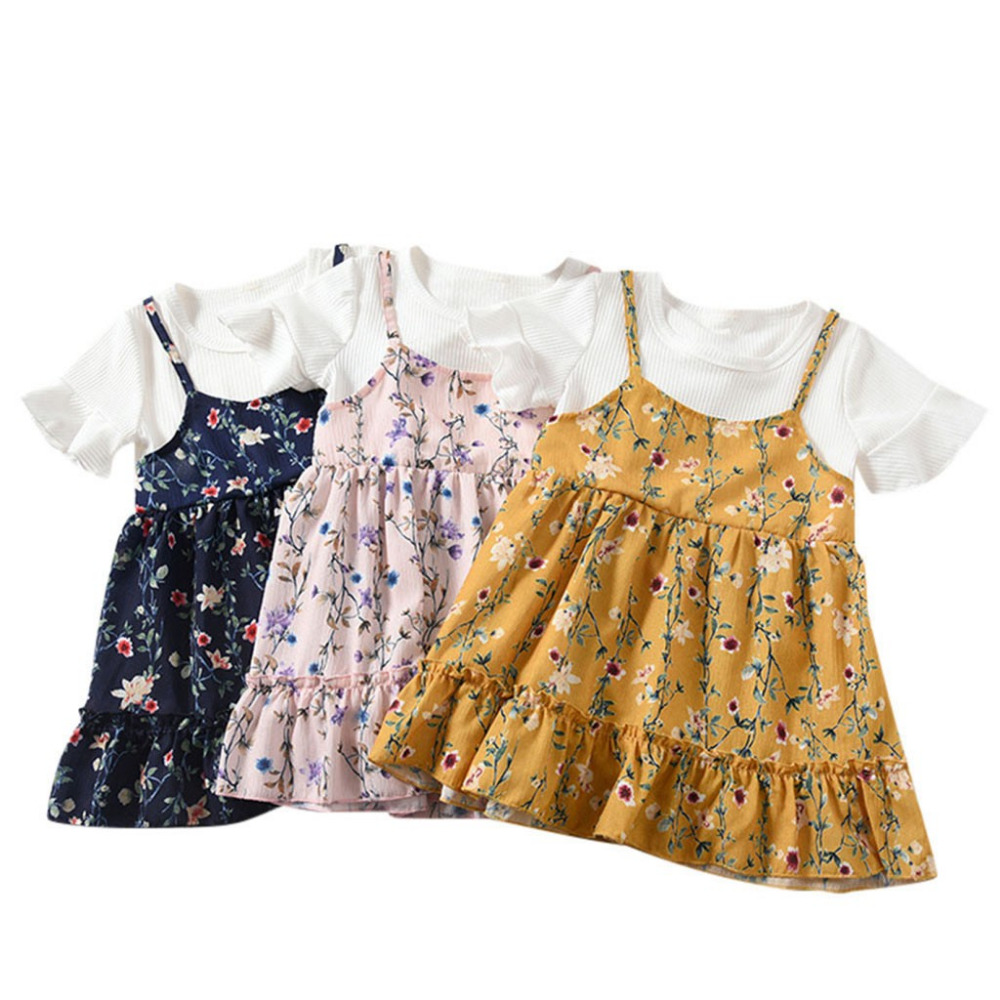 Baby Girls Floral Summer Party Dress Sundress Clothes Cute Newborn Toddler Sling Tutu Summer Dresses