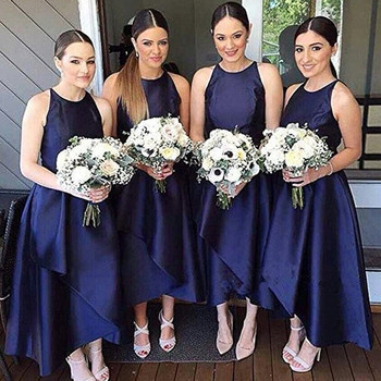 Navy Blue Bridesmaid Dresses 2018 Sleeveless Satin High Low Crew Simple Maid Of Honor Dress Formal Prom Party Gowns