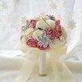 2017 em estoque Impressionante Casamento flores Bouquets de Noiva Branco Da Dama de honra Rosa artificial Buquê De Casamento