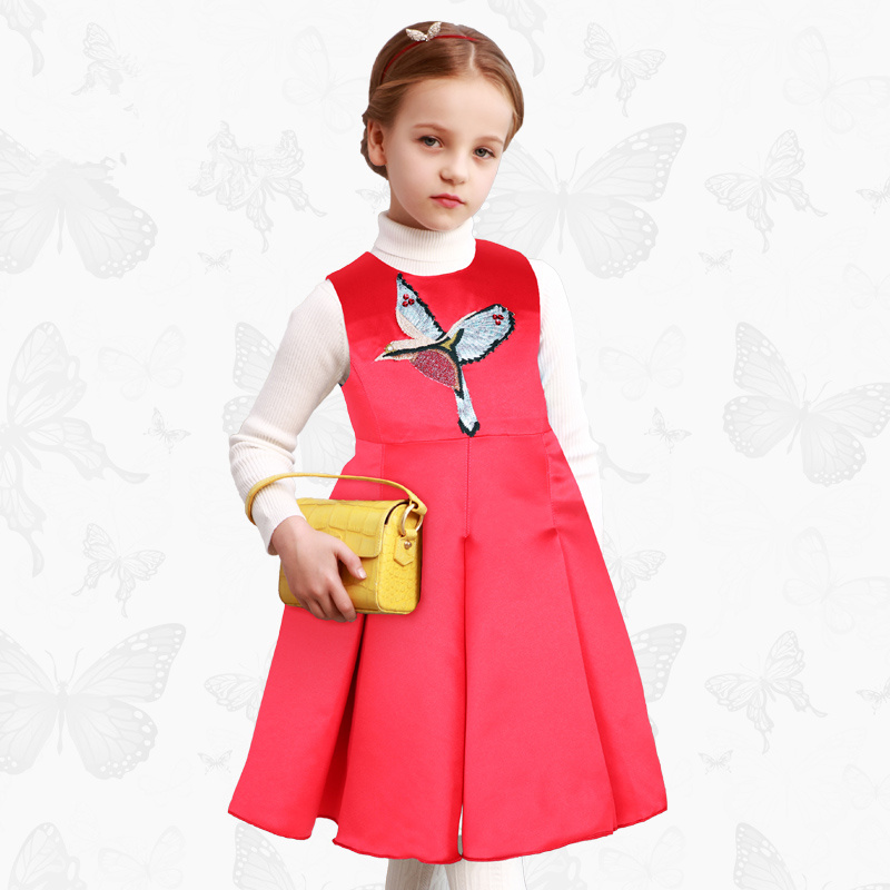 European and American brand children's clothing autumn and winter new children's dress girls pleated princess vest dress w l monsoon european and american girls dress new children s wear princess dress rose floral sleeveless vest dress