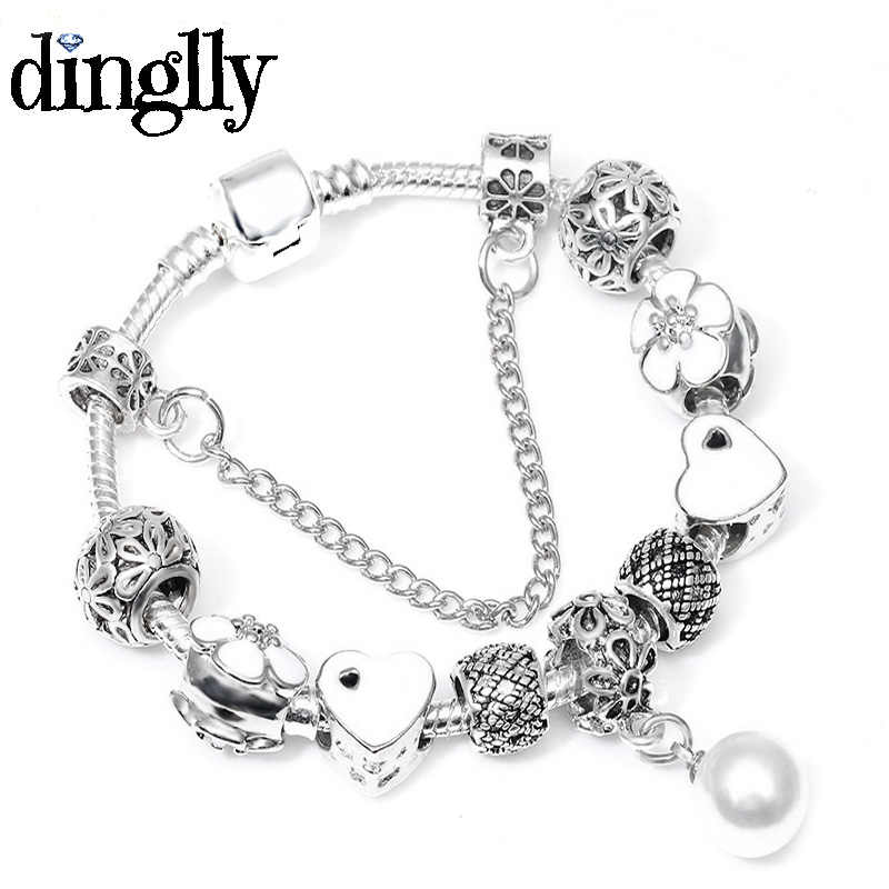 DINGLLY Charm Brands Bracelet For Women Men Girls Friends Lovers DIY Silver Plated Rainbow Pendant Beads Bracelets & Bangles