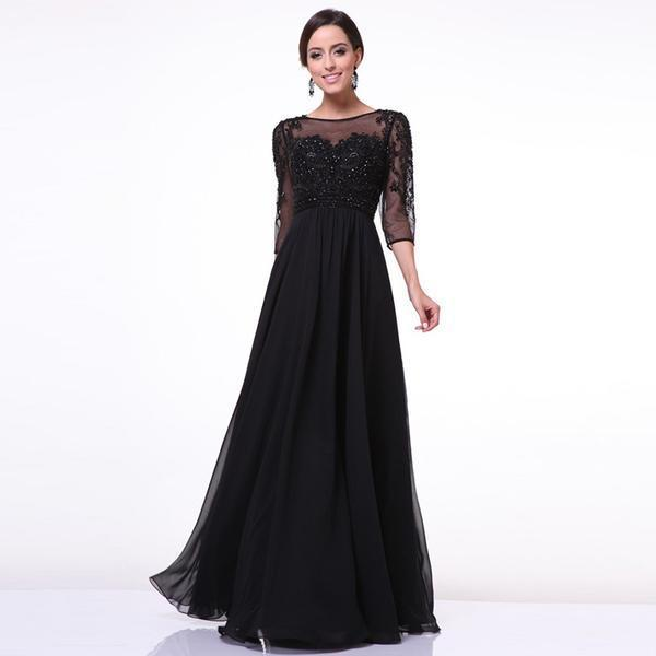 6b2cbffd828dd US $19.8 |2015 Fashion Sexy Ladies Mesh Lace Maxi Dress Half Sleeves O neck  Black Chiffon Dresses European Women Slim Evening Party Gowns-in Dresses ...