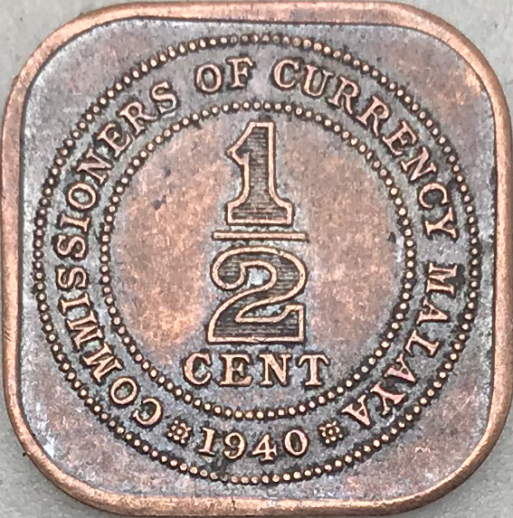 British Malaysia 1940 1 2 Cent George King Emperor 99 Red Copper