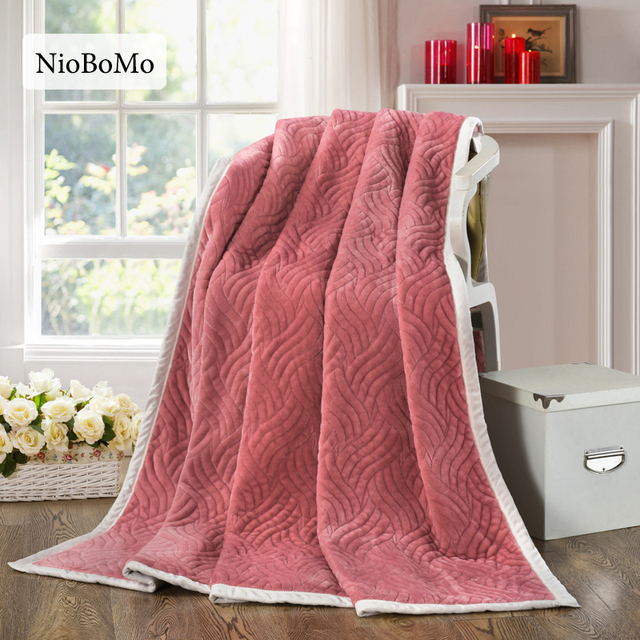 Niobomo Bean Sand Color Blanket Elegant Comfortable Throws Coral Fleece Bedspread For Sofa/Bed/Home 1pcs Blanket 3 Size
