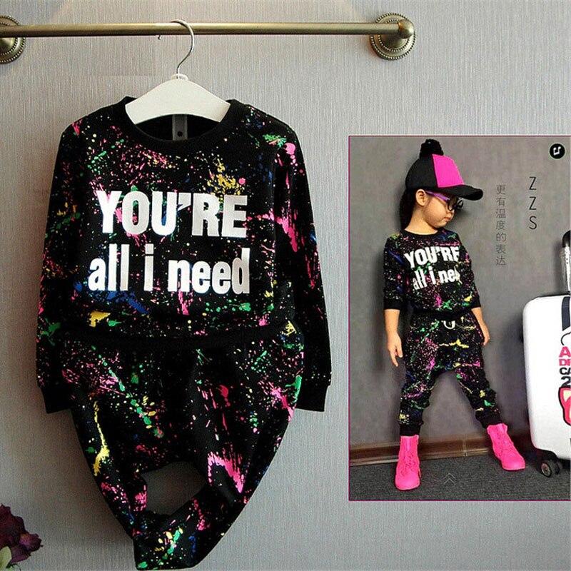 Fashion Teenage Girls Clothing Set Spring Kids Girls Letter Print Graffiti Pattern Sports Suit Long Sleeve Clothing and Pants