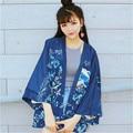 Batwing camisa Cardigan japão harajuku cardigan kimono kimonos kimono feminino floral blusa bordado flor Batwing blusa