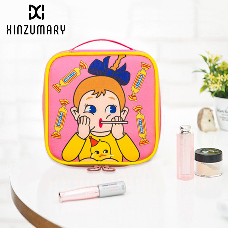 Women Cosmetic Bags With Handle Cute Girl Cartoon Large Capacity Square Cosmetic Bags Travel Bag Portable Zipper Storage Pouch