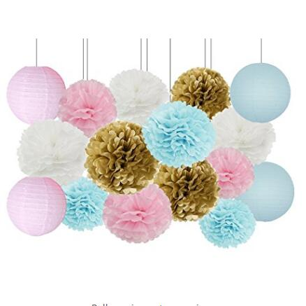 16PCS Gender Reveal Party Supplies Boy or Girl Baby Shower Decor Baby Blue Pink White Gold Tissue Paper Pom Pom Paper Lanterns