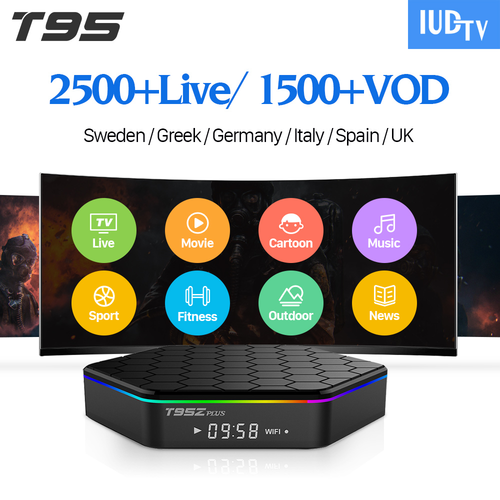 IUDTV Code Spain Greek Italia IP TV Europe T95Z Plus Android 7.1 S912 2G+16G 3G+32G Dual-Band WiFi IPTV Receiver Box IP TV t95z plus amlogic s912 android 6 0 2g 16g tv box rii i8 white