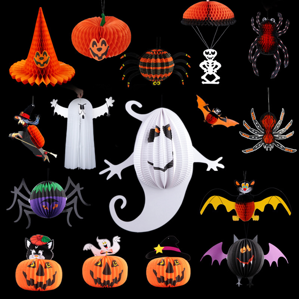 pumpkin halloween lantern decoration horror party supplies spherical whimsy ghost bats spider hanging pendant decoration hg0169