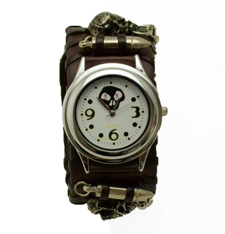 2017 NEW Punk Rock Chain Skull Band Women Men Bracelet Cuff Gothic Wrist Watch L7173 punk rock chain skull women men bracelet cuff gothic wrist watch 928