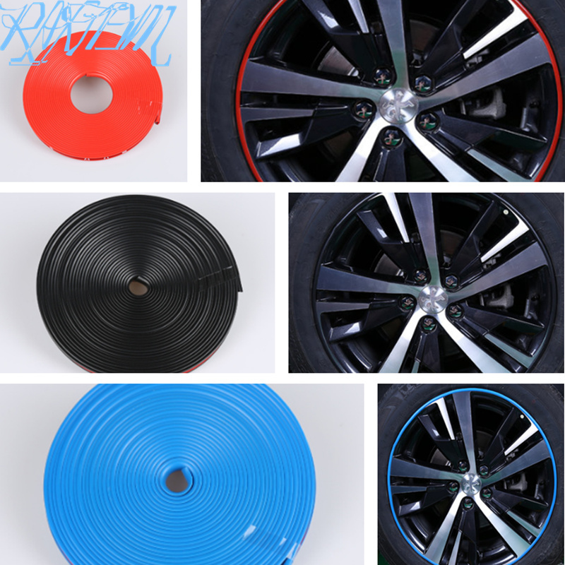 8m Car <font><b>Wheel</b></font> Hub Decorative Strip Auto Rim/Tire Protection for <font><b>Peugeot</b></font> RCZ 206 207 208 301 307 308 <font><b>406</b></font> 407 408 508 2008-6008 image