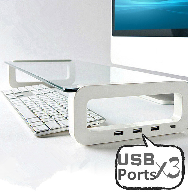 Multifunction Laptop Cooling Stand with 3 USB Port Tempered Glass Notebook Heighten Holder for MacBook