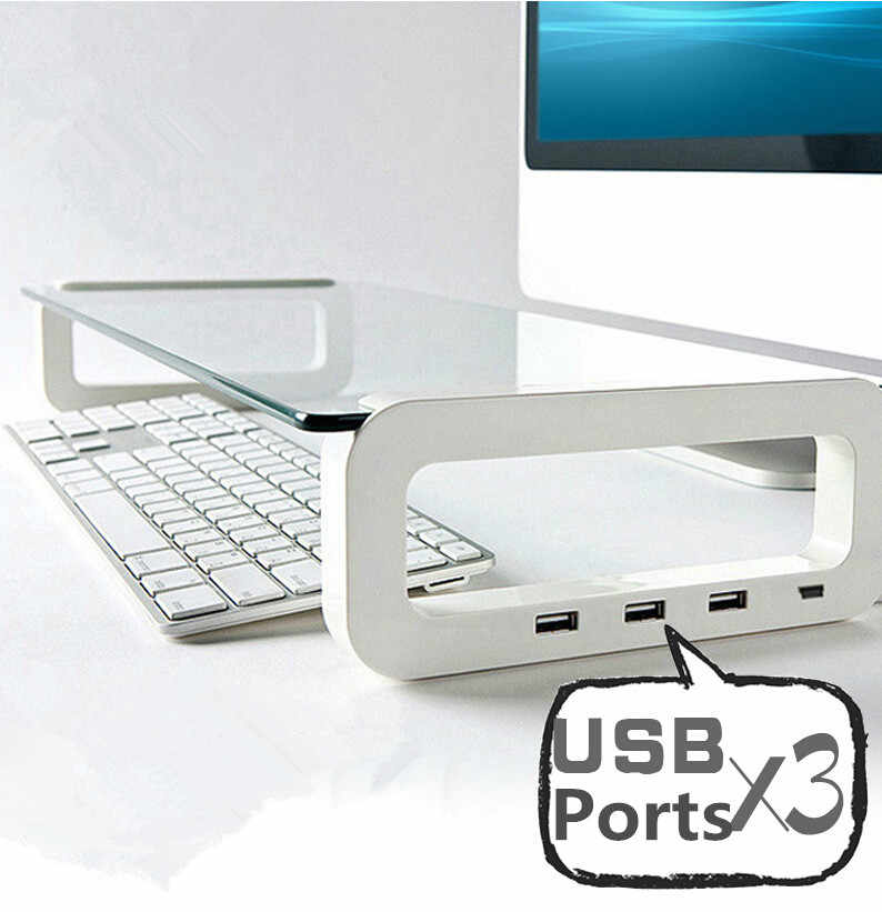 Multifunctionele Laptop Cooling Stand met 3 Usb-poort Gehard Glas Notebook Verhoog Houder voor MacBook