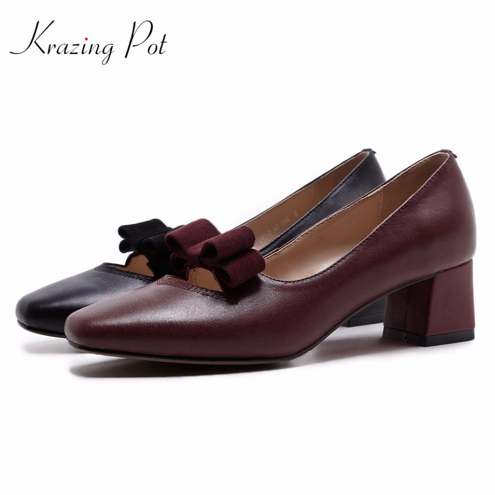 Krazing Pot 2018 new shoes women fashion thick med heels bowtie genuine leather simple style pumps slip on square toe pumps L19 krazing pot shoes women rivets fashion genuine leather square toe lazy style med thick heels slip on hollow pumps lady shoes l50