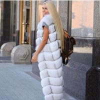 Womens Super Long Winter Autumn Faux Fox Fur Waist Coats Slim Furry Large Size Woman Fake Fur Vest Man Made Waistcoat J2987