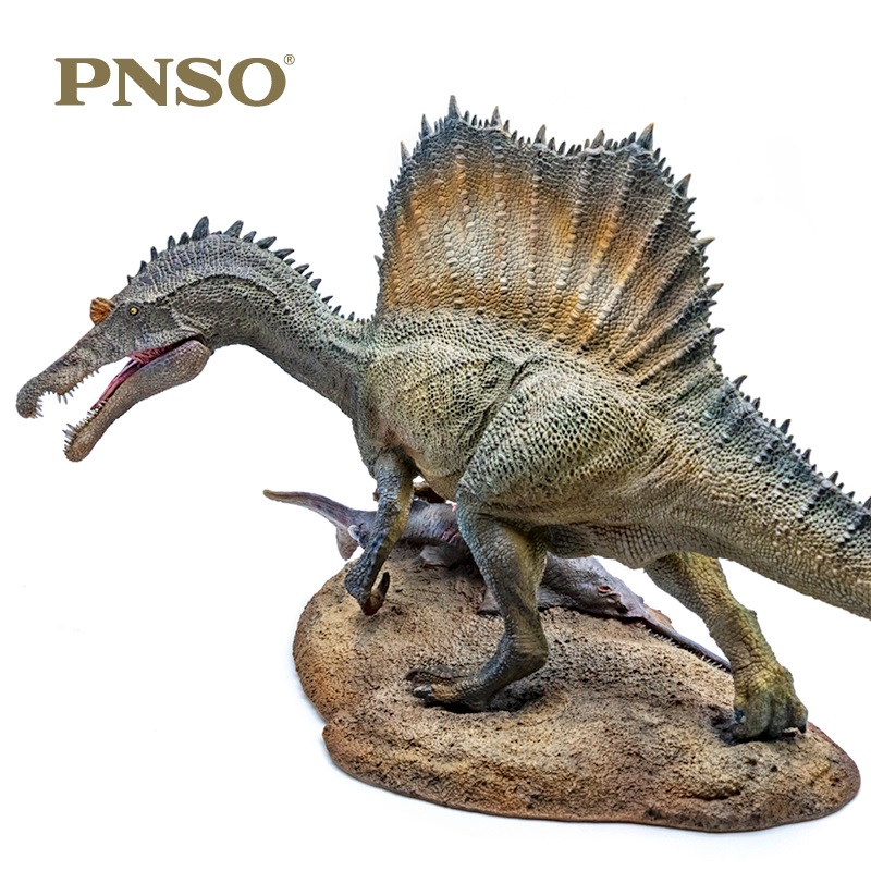 1:35 PNSO Spinosaurus Spiny Dragon Fishing With Pedestal Platform Dinosaur Classic Toys For Boys Ancient Animal Model Doll