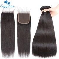 Sapphire Straight Remy Human Hair Bundle With Closure 1B Color For Hair Salon High Ratio Longest