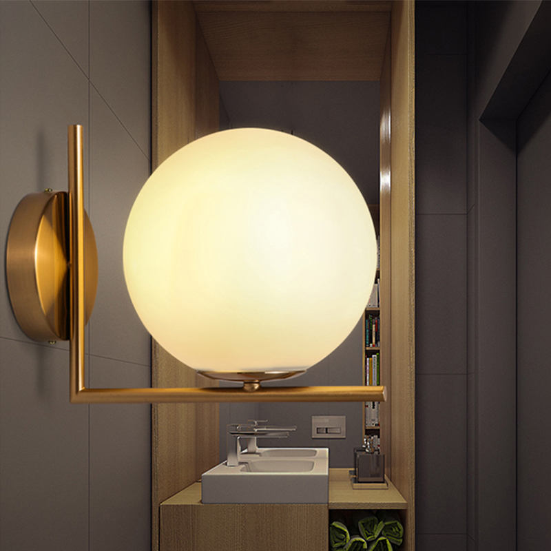 Modern Creative Wall Lamp Glass Spherical Wall Lamp Corridor Bathroom Bedroom Wall Lamp E27 Base Home Decoration Lighting цены