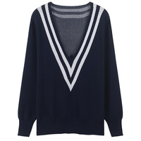 SRUILEE Sexy Deep V Neck Sweater 2018 New Autumn Loose Jumper Winter Plus Size Pullovers Women Sweater Striped Knit Tops Runway